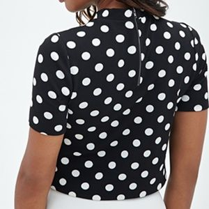 Forever 21 Tops - Retro Mod Black and White Polka Dot Crop Top
